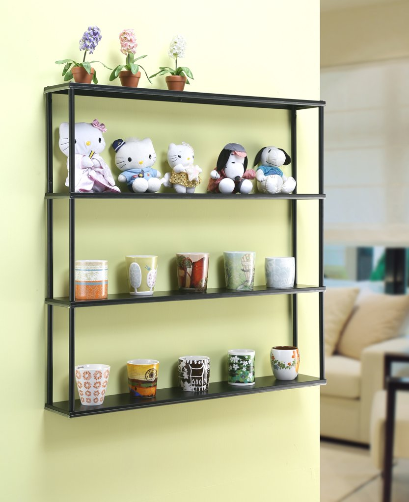 Wall-Mounted Steel Shelving Unit - 36'' H x 36'' W x 6'' D - Black - for kitchen, storage, or display use.