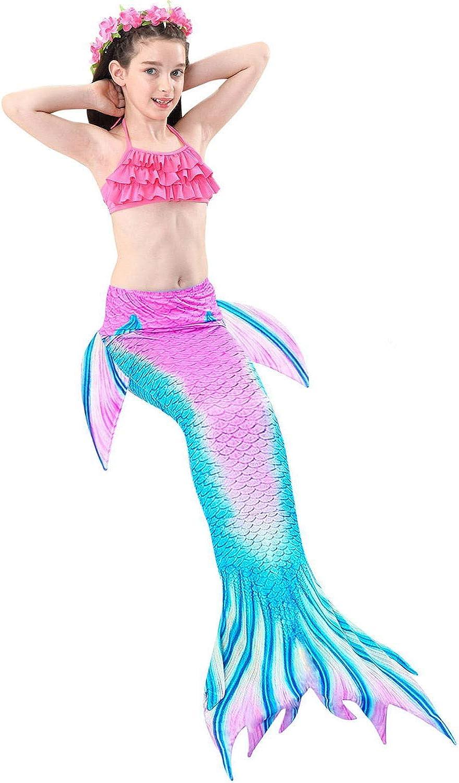 Garlagy 3 Pcs Girls Swimsuit Mermaid Costume Gifts Swimming Bikini Set for 3-14Y