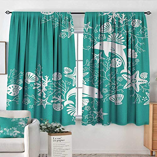 - Theresa Dewey Blackout Curtains for Bedroom Sea Animals,Dolphins Flowers Sea Life Floral Pattern Starfish Coral Seashell Wallpaper,Sea Green White,for Bedroom&Kitchen&Living Room 63