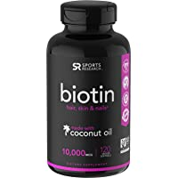 Biotin (10,000mcg) with Organic Coconut Oil | Supports Healthy Hair, Skin & Nails | Non-GMO Verified & Vegan Certified (120 Veggie-Softgels)