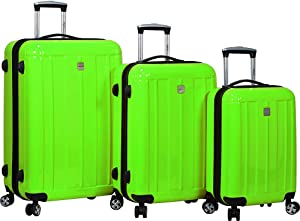 Dejuno Contour 3-Piece Hardside Spinner Luggage Set with TSA Lock, Apple Green, One Size