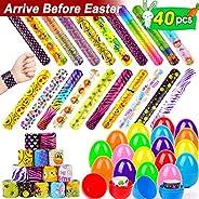 ORWINE 20pcs Easter Eggs + 20pcs Slap Bracelets Easter Basket Stuffers Party Favors for Kids Boys Girls Birthday Gifts Slap