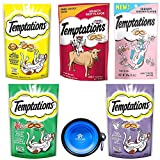 Temptations Classics Tasty Snack Treats for Cats -Feline Variety Bundle 5 Pack (Chicken - Hairball - Shrimp - Diary - Beef Flavors) with Hotspot Pets Collapsible Bowl