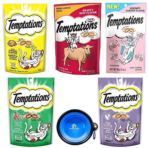 Temptations Classics Tasty Snack Treats for Cats -Feline Variety Bundle 5 Pack (Chicken, Hairball, Shrimp, Diary, Beef Flavors) with Hotspot Pets Collapsible Bowl