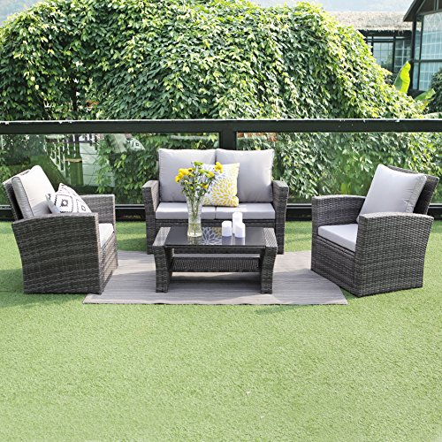 Wisteria Lane Outdoor Patio Furniture Set,5 Piece Sectional Sofa Couch Wicker Rattan Conversation Set Chair Table Seat,Gray (Wicker Rattan Sofa)