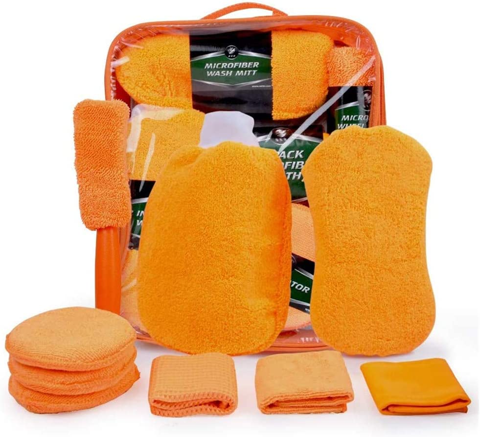 JANNIDE 9Pcs Car Wash Cleaning Tools Kit,Auto wash mitt Microfiber Towel Wash Gloves Wheel Brush Applicator Pad Wash Sponge Microfiber Mitt Wash Gloves Microfiber mitt with polishing cloth Grey