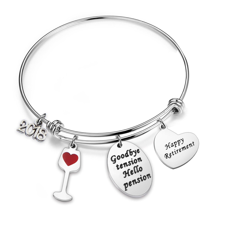 MAOFAED Retirement Bracelet Happy Retirement Wine Jewelry Gift for Parents, Grandma Thanksgiving Day (B-Retirement)