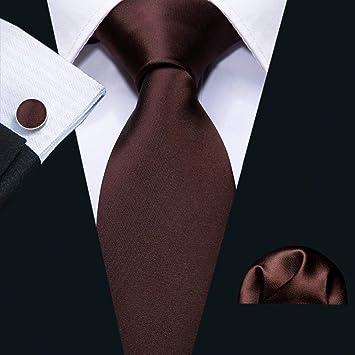 HYCZJH Conjunto de Corbata para Hombre Moda Seda Marrón Lazos de ...