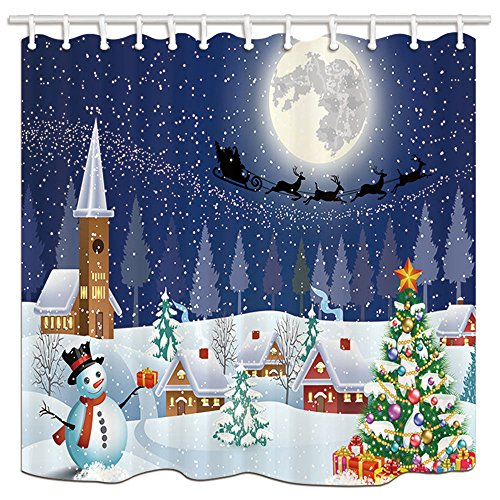 NYMB Christmas Snowman with Xmas Tree Bath Curtain, Santa with Reindeer Through Town in Winter Snow, Polyester Fabric Waterproof Shower Curtain for Bathroom, 69X70in, Shower Curtains Hooks Included