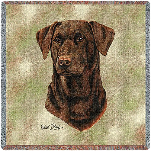 Pure Country Weavers - Labrador Retriever Chocolate 2 Woven Throw Blanket with Fringe Cotton. USA Size 54x54