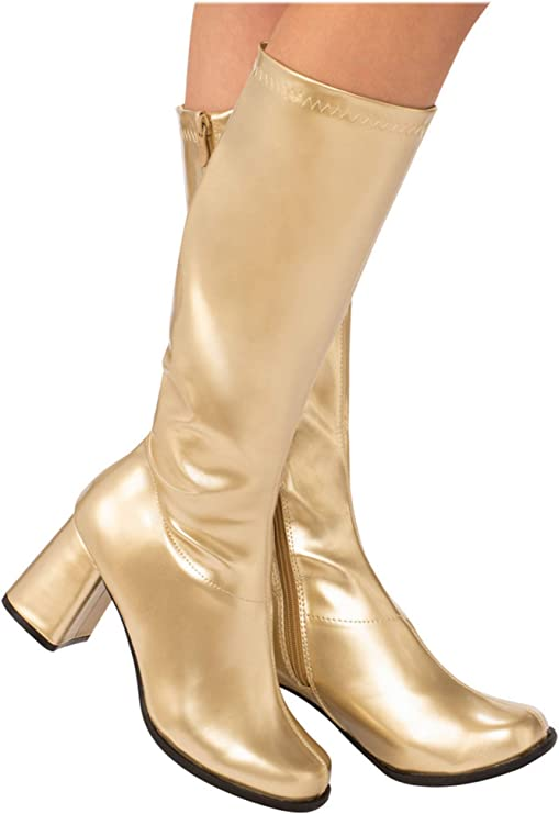 60s Costumes: Hippie, Go Go Dancer, Flower Child, Mod Style Gold GoGo Boot for Adults $40.26 AT vintagedancer.com