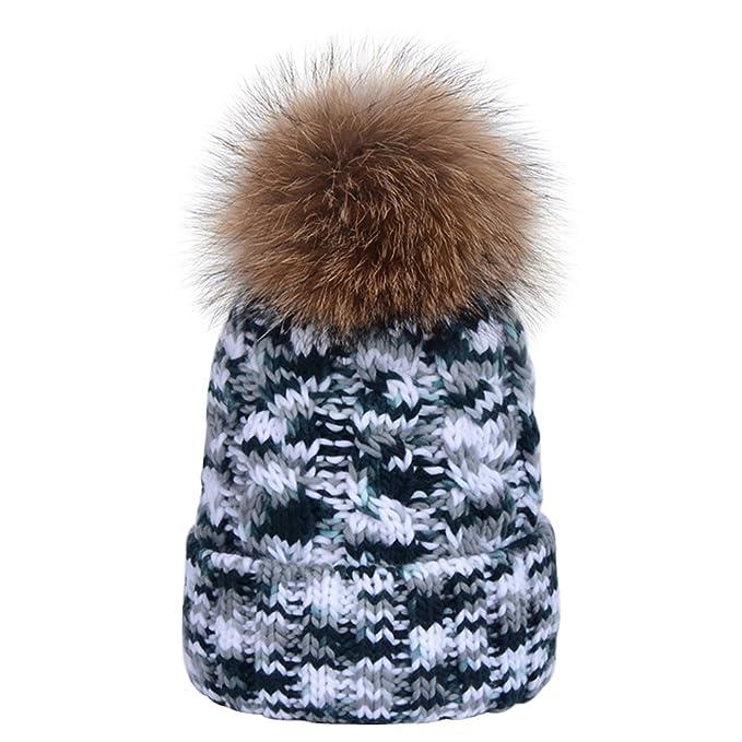 LOKTARC Women s Winter Cable Knit coloured Faux Fur Pom Pom Beanie Hats  Black White 1329ec30792