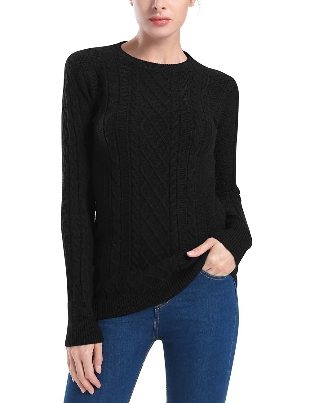 3cd769c1c6 Rocorose Women s Crew Neck Cable Knitted Long Sleeve Tunic Sweaters at  Amazon Women s Clothing store