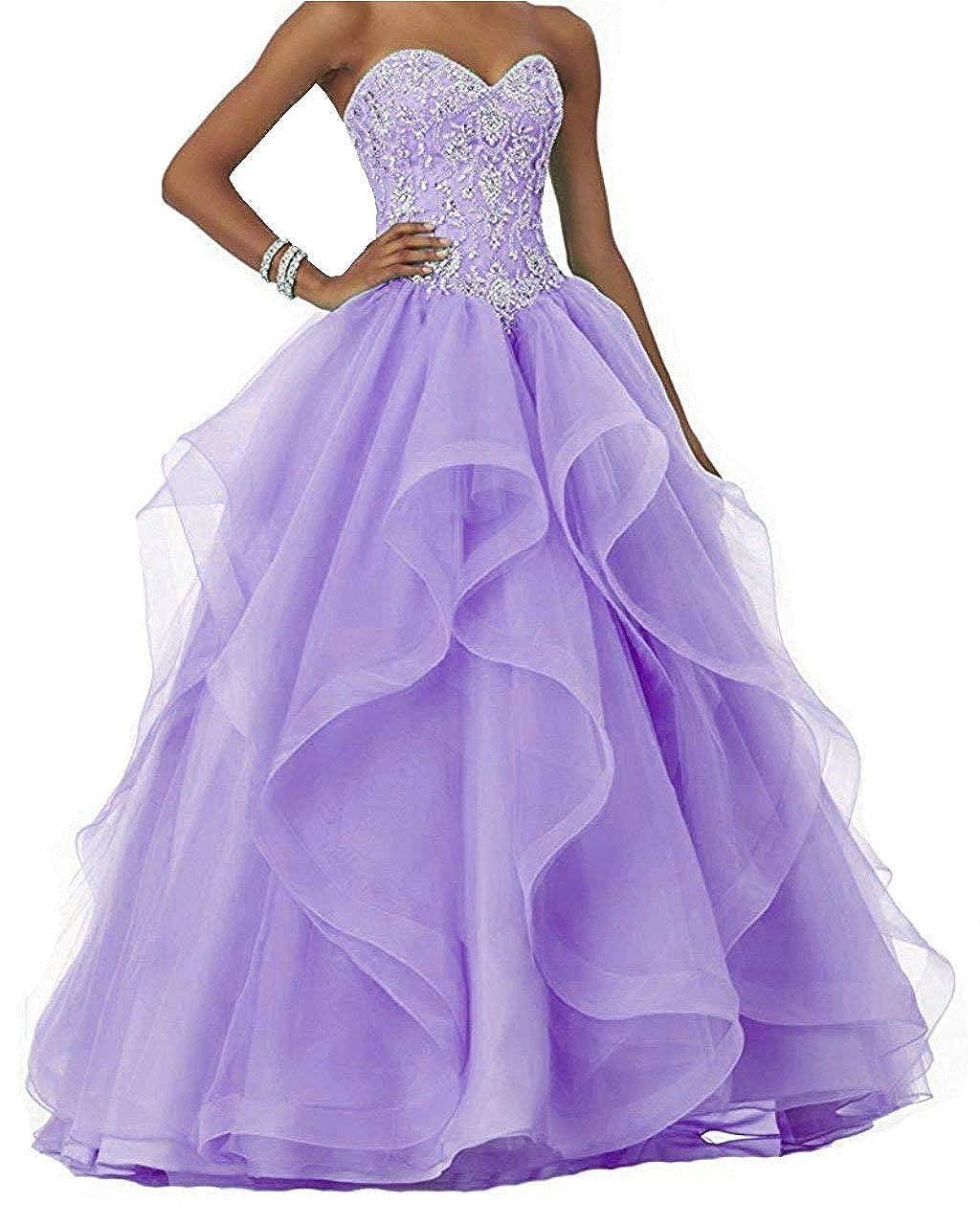 Lavender Vantexi Women's Ruffled Organza Sweet 16 Gown Beaded Formal Prom Quinceanera Dresses