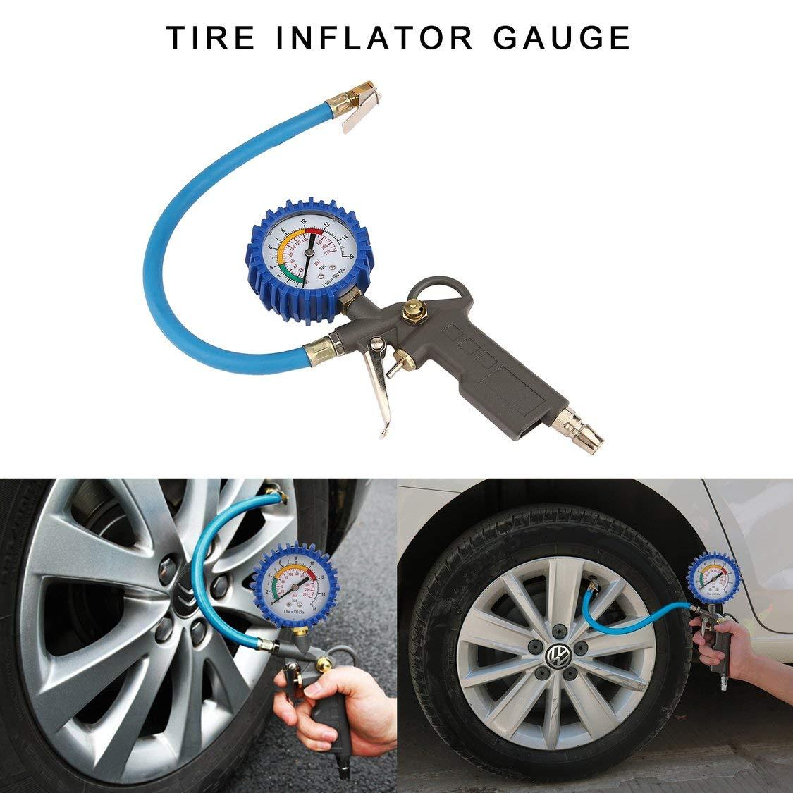 VIGE Hohe Pr/äzision Automobil Reifen Manometer Auto Digital Pneumatische Manometer Reifenf/üller Manometer Reifendruck/überwachung Blau /& Schwarz