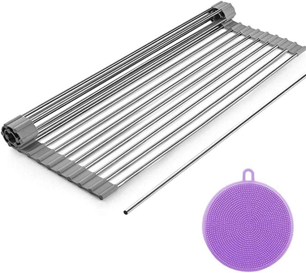 Dish Drying Rack, ZealBea Focus Enrollable Escurreplatos Acero Inoxidable para Fregadero [Silicio Suave de Grado FDA] [Sin BPA] Sobre el Fregadero o Encimera Escurreplatos (Gris, 20.9