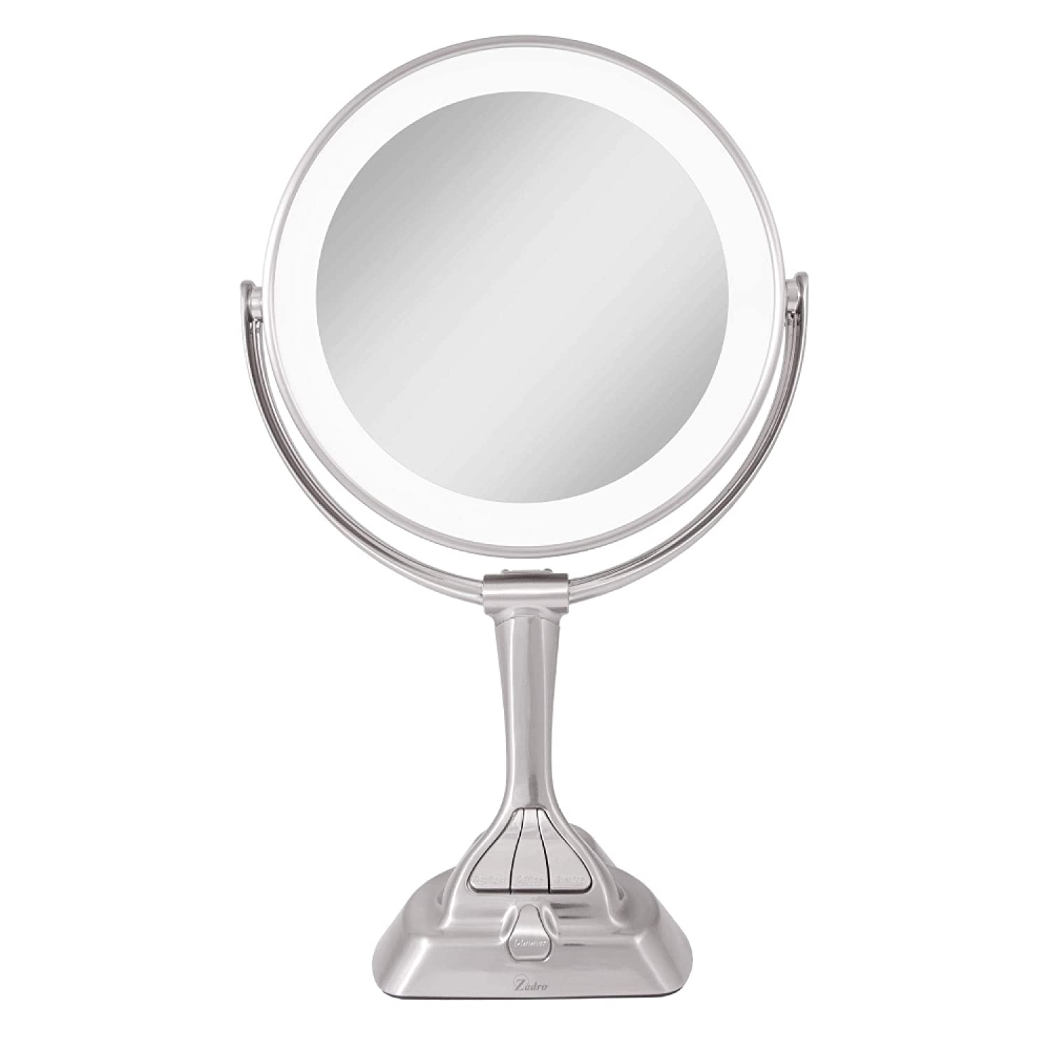 Zadro Led Light Dimmable Dual-sided Vanity Mirror, Satin Nickel