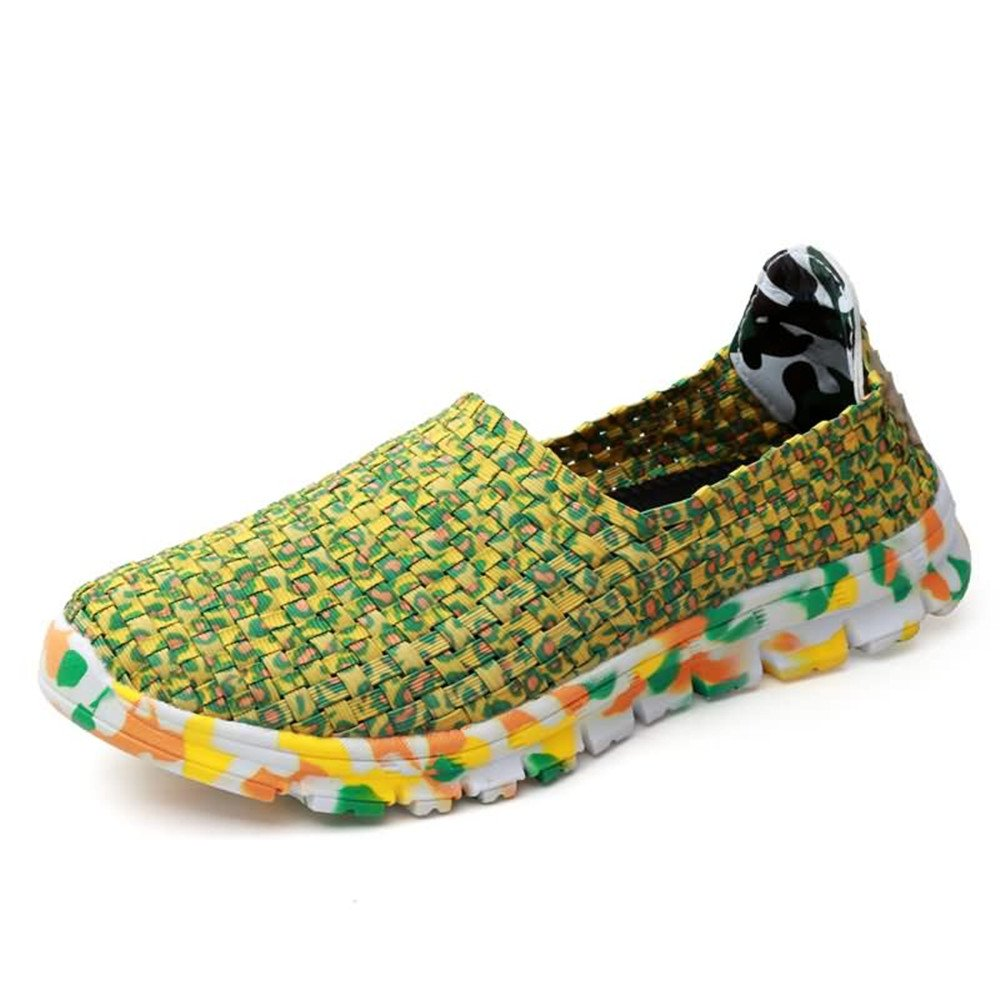 Men Women and Mens Unisex Fashion Colorful Breathable Weaving Athletic Shoes Elastic Band Flat Heel Slip on Gird Pattern Sneaker Fashion Sneakers lace Sports