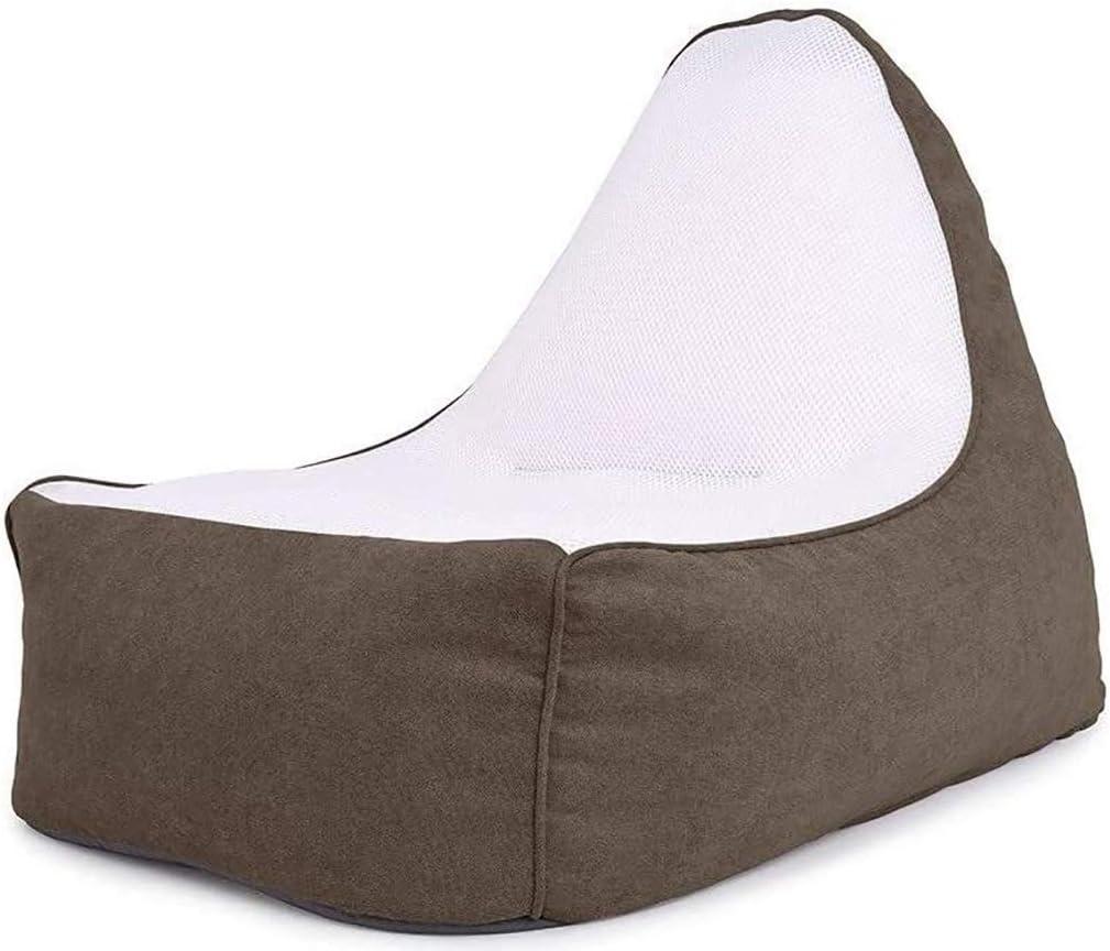Puf Cubierta de silla de bolsas de tela de tela de malla, sofá de un solo asiento tumbonas billete de frijol silla silla de silla adulto grande for silla de juego y silla de jardín, con asa, sin relle