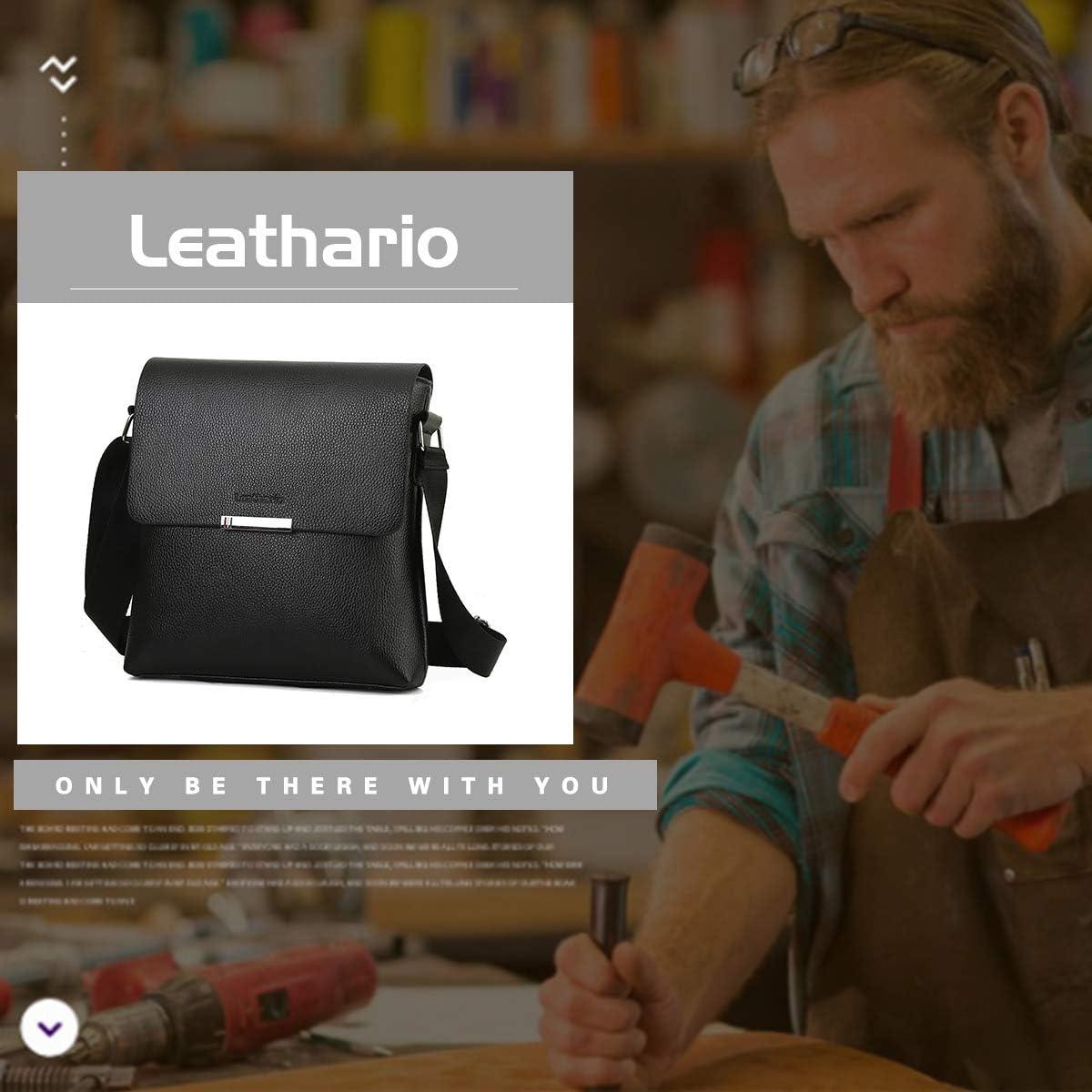 Leathario Sac Bandouli/ère R/étro Sacoche pour Homme 23.5 5 25.5 cm Noir
