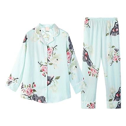 Pijamas de Seda de Mujer Sexy Cardigan Manga Larga Dulce HUXIUPING (Color : Blue,