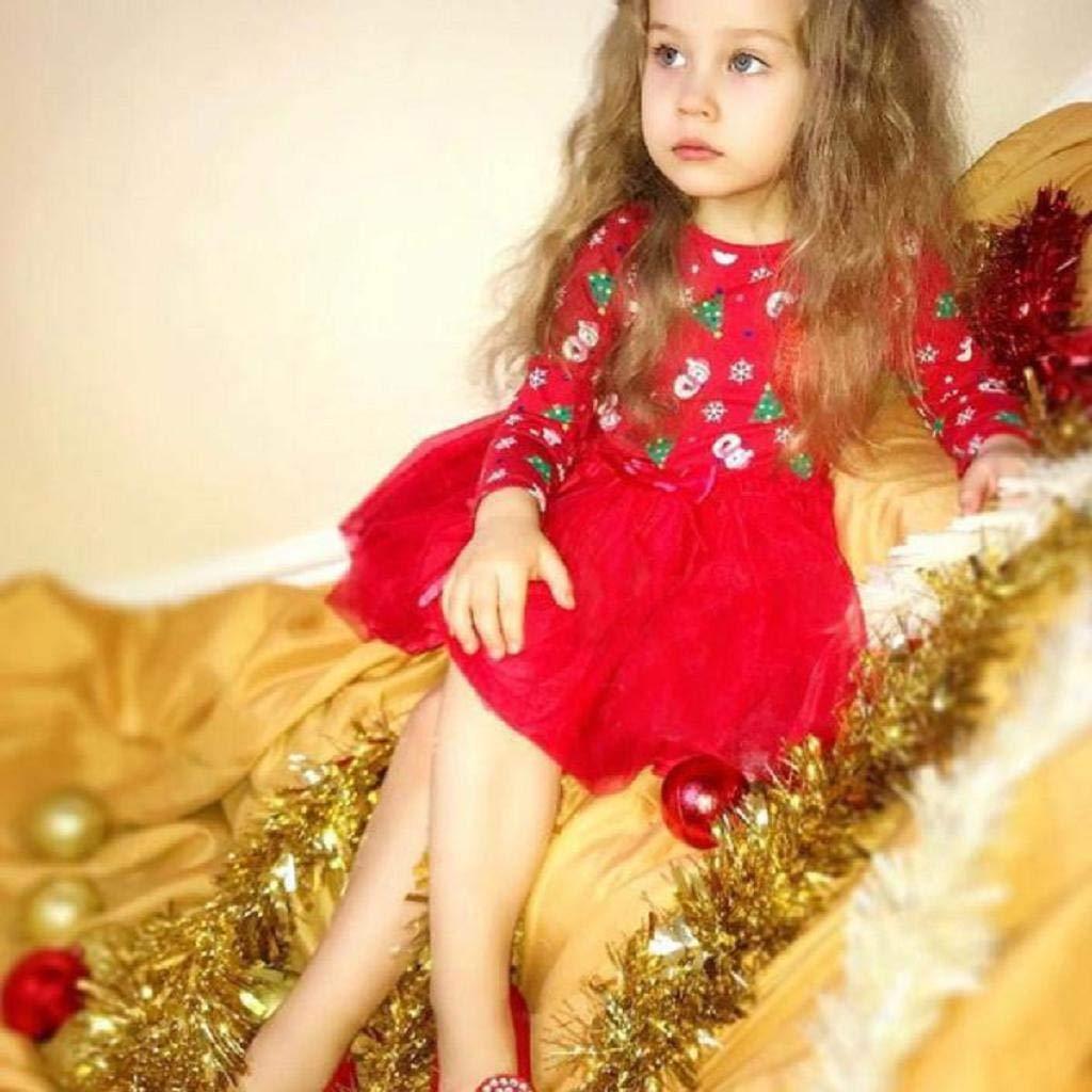 REYO Christmas Baby Dress Toddler Kids Girls Long Sleeve Cartoon Snowman Print Dress Tops Pullover