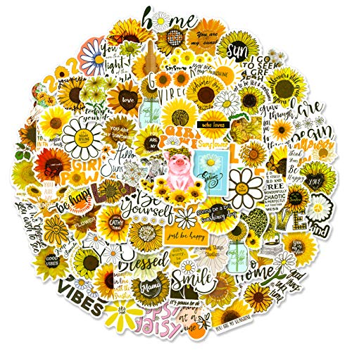 100 Pcs Flower World Stickers Waterproof Vinyl Sticker for for Laptop, Reward Motivational Stickers for Teens Adults Students Teachers Planners