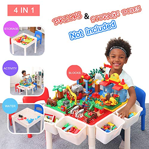 Bheddi Kids Table and Chair Set, 4 in 1 Toddler Table and Chair Sets, Kids Activity Table Blocks Craft Play Table Fits Educational Playing Activities (Bricks Not Included)、