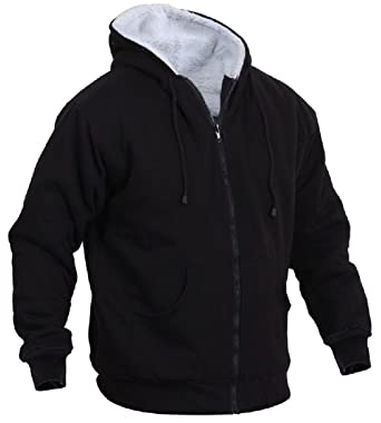 Amazon.com  Black Heavy Weight Warm Sherpa-Lined Zipper Hooded ... dae2bb6f5f