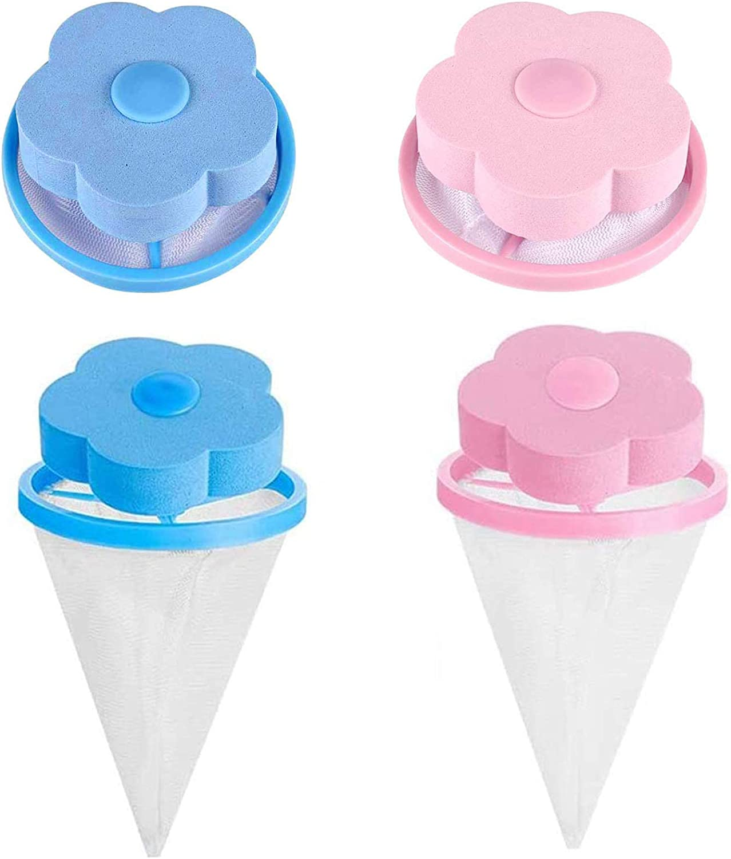 4 Pcs Bolsa de Filtro Lavadora, Bolsa de Red para Filtro de Pelo, Bolsa de Filtro de Red para Lavadora para Mascotas, Filtro de Pelusa de Pelo Reutilizable, Herramienta para Lavadora(Rosa, Azul)