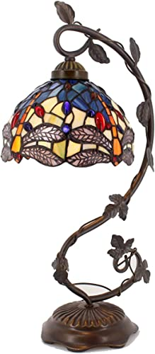 Tiffany Desk Lamp Stained Glass Table Reading Banker Light Crystal Bead Blue Yellow Dragonfly Style Shade W8H20 Inch S128 WERFACTORY Lamps Parent Lover Kid Living Room Bedroom Coffee Bar Crafts Gift