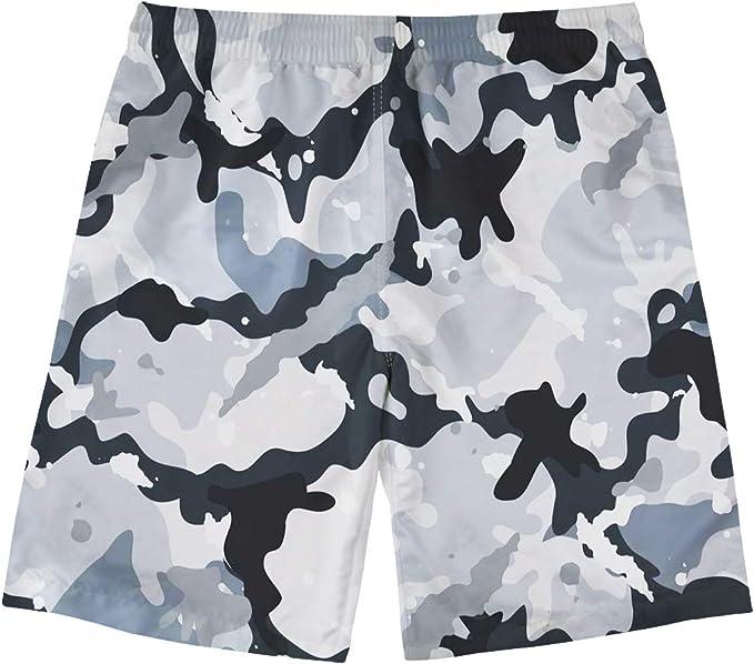 Sunshine White Realtree Camo Mens Beach Shorts Elastic Waist Pockets Lightweight Swimming Board Short Quick Dry Short Trunks