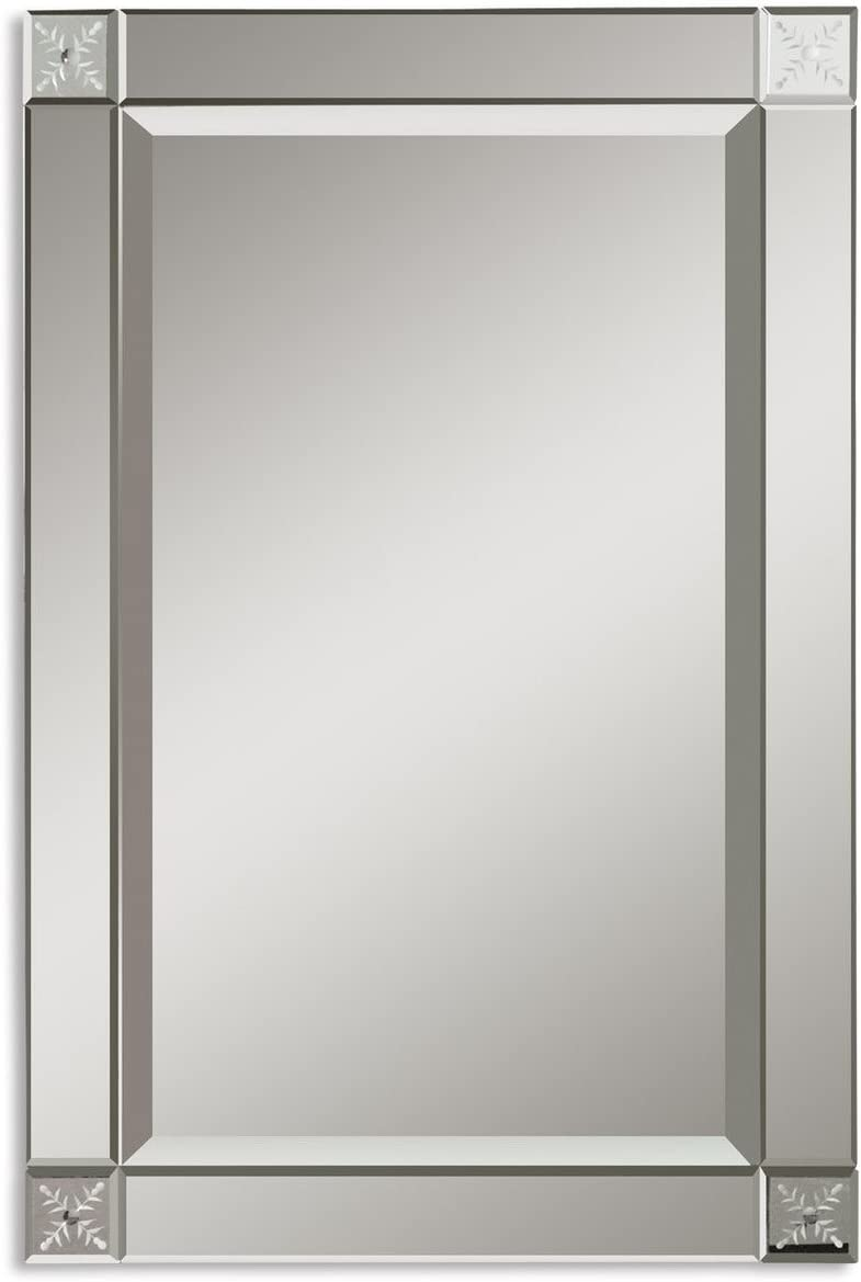 Intelligent Design Classic Glass Frame Wall Mirror Etched Contemporary Vanity