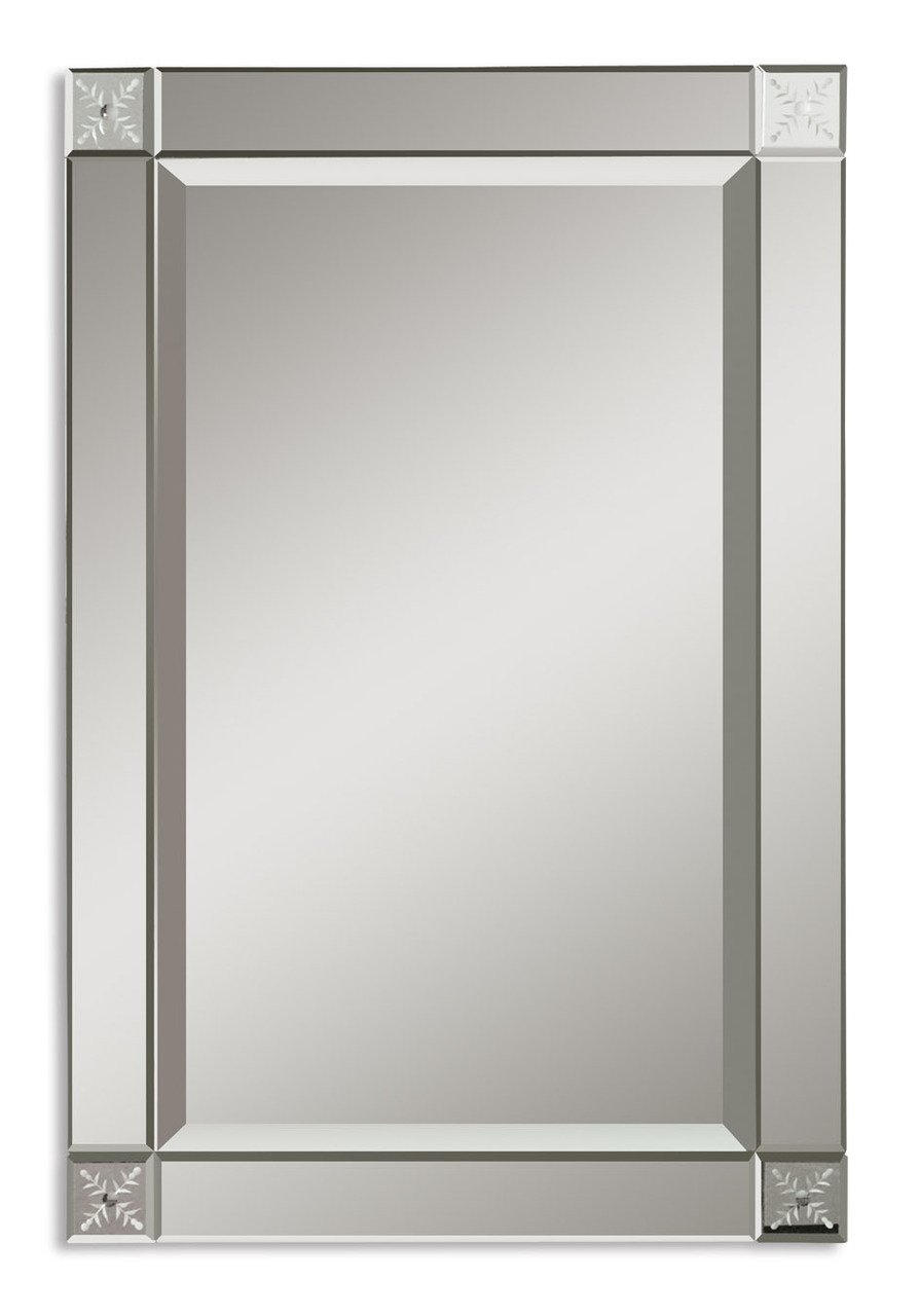Amazon.com: Classic Glass Frame Wall Mirror | Etched Contemporary ...