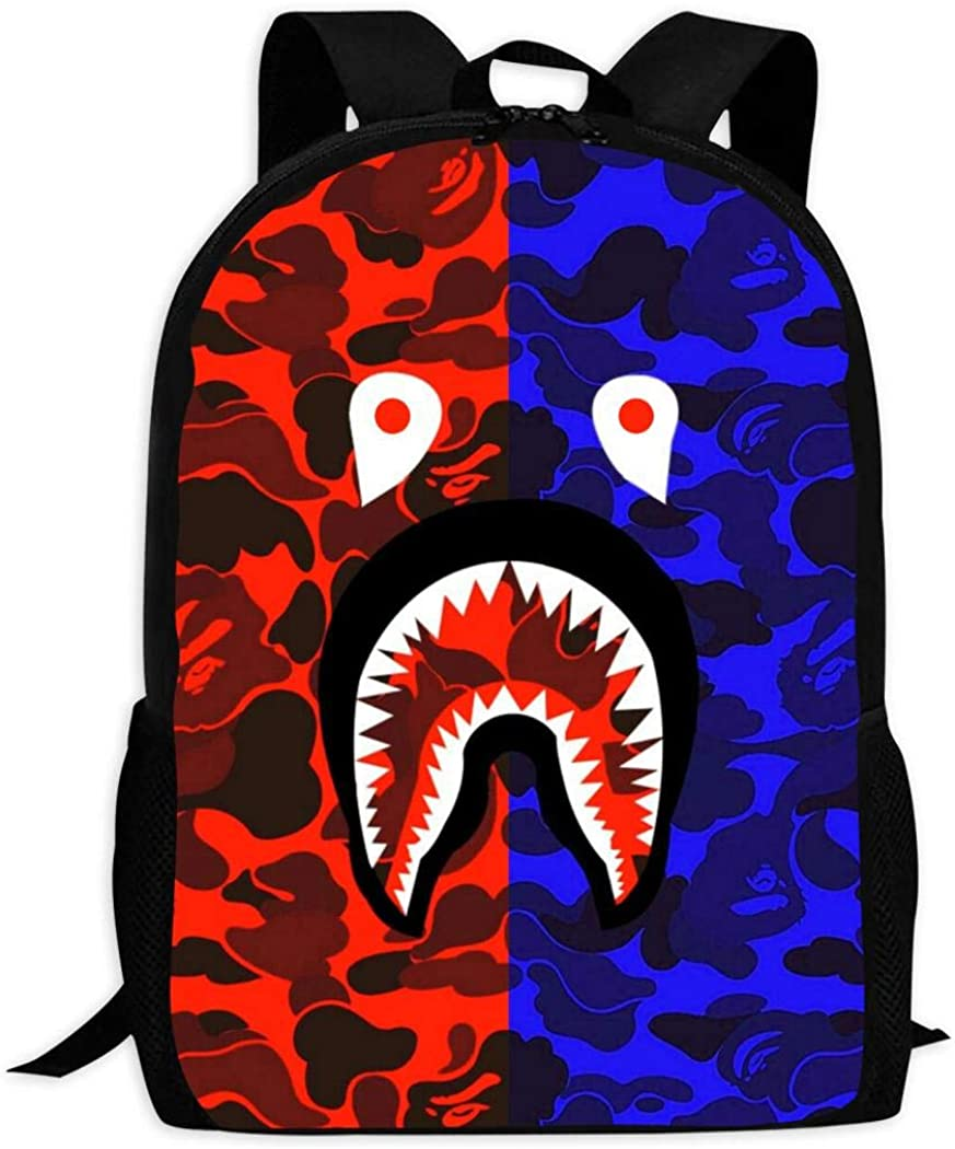 BR PINNEONE Bape Shark Teeth Camo Laptop Bag Backpack Student Bookbag for Boys Girls Women Men