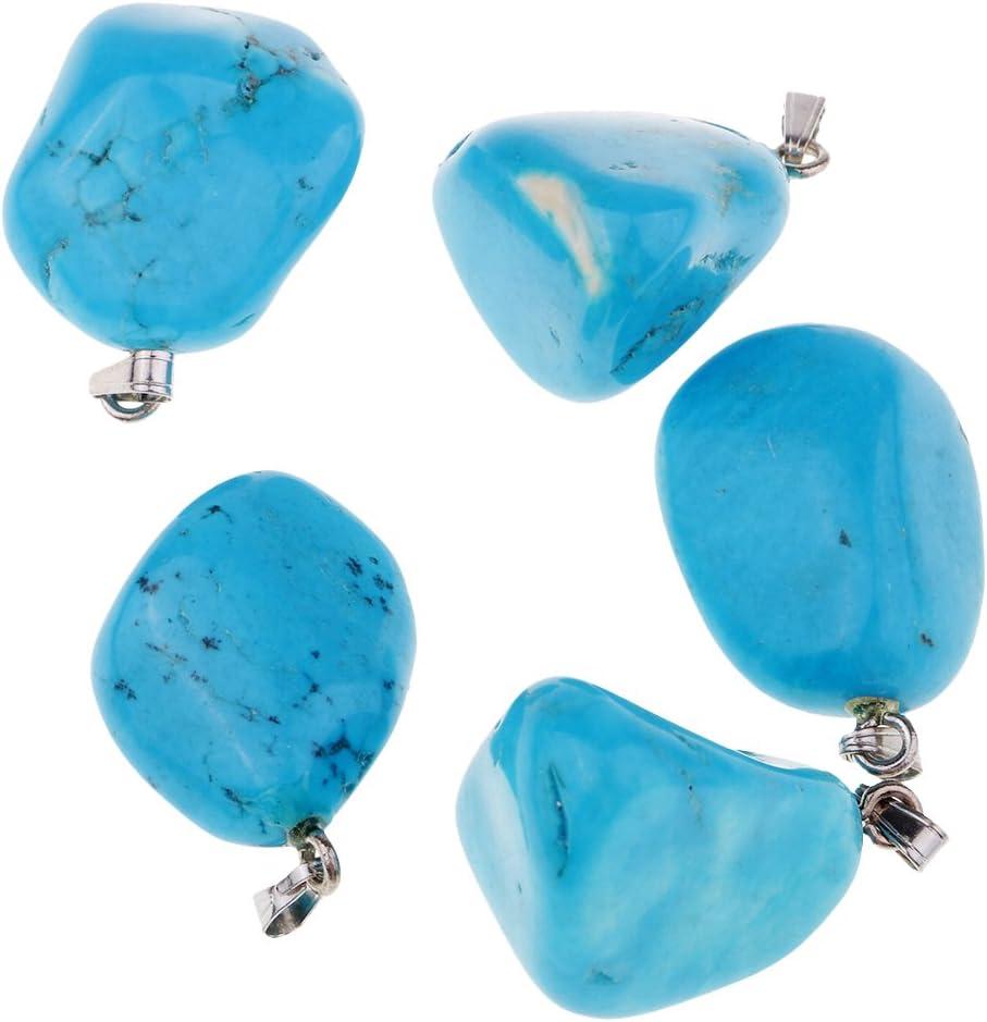 IPOTCH 5pcs/ Set Colgante de Piedra Pulida Natural de Energía Pendiente de Collar Artesanía Manual - Azul