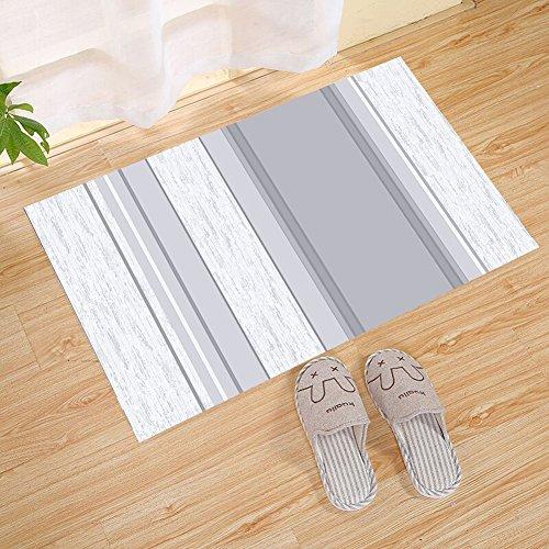 ALDECOR Gray Abstract Stripes Welcome Doormat Front Porch Decor Indoor/Outdoor Floor Mud Dirt Trapper Mats Cotton