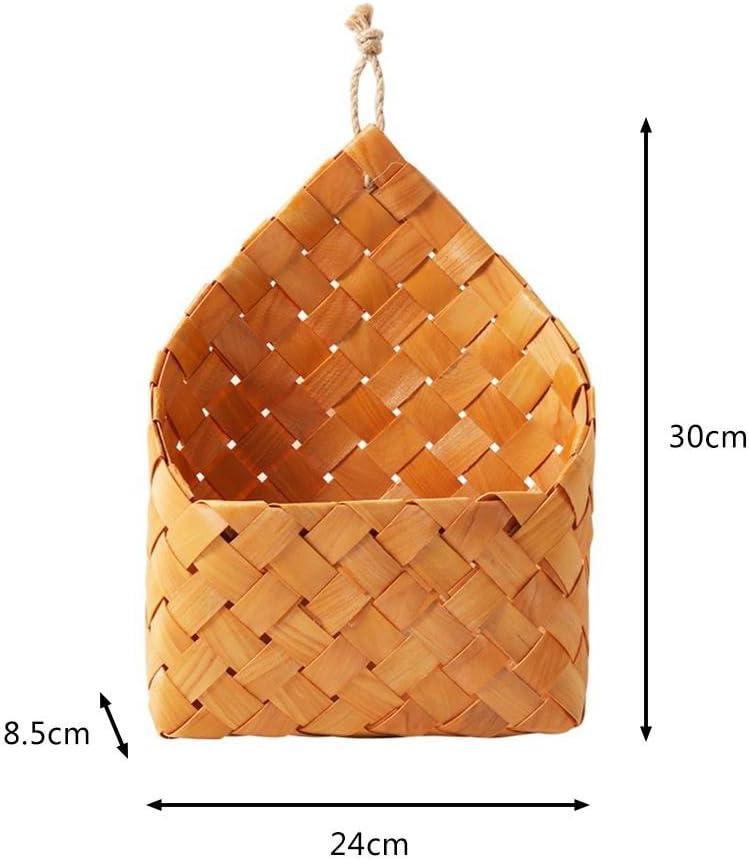 Sundlight Handmade Natural Cedar Sheet Woven Wall Hanging Basket Wall Decoration Storage Basket Hanging Basket fit Home
