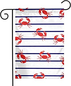 Red Crabs Garden Flags House Indoor & Outdoor Welcome Decorations,Waterproof Polyester Yard Decorative for Game Family Party Banner