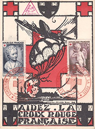 France Scott B255-B256 8F+2F Bust by Houdon and 15F+3F L'Amour by Falconet Red Cross Semi-postals 1950 Paris Exposition La Croix-Rouge Et La Poste Premier Jour Illustrated Cancel. First day. Maximum