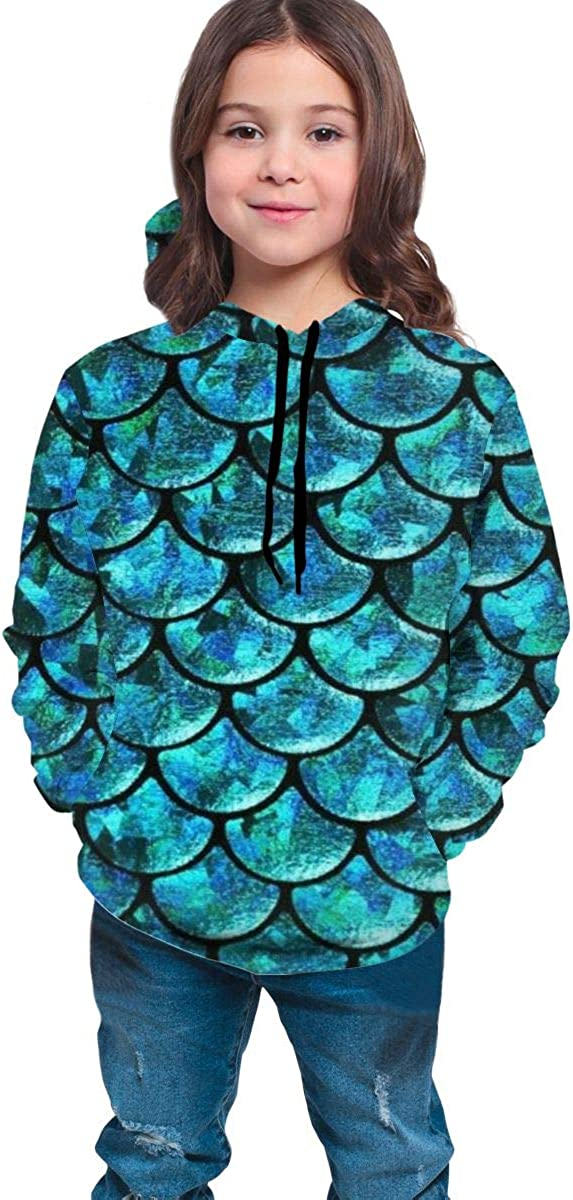 Mermaid Fish Scale Student Hooded Sweate Pullover Drawstring Pocket Stylish Sweat Shirt for Boys