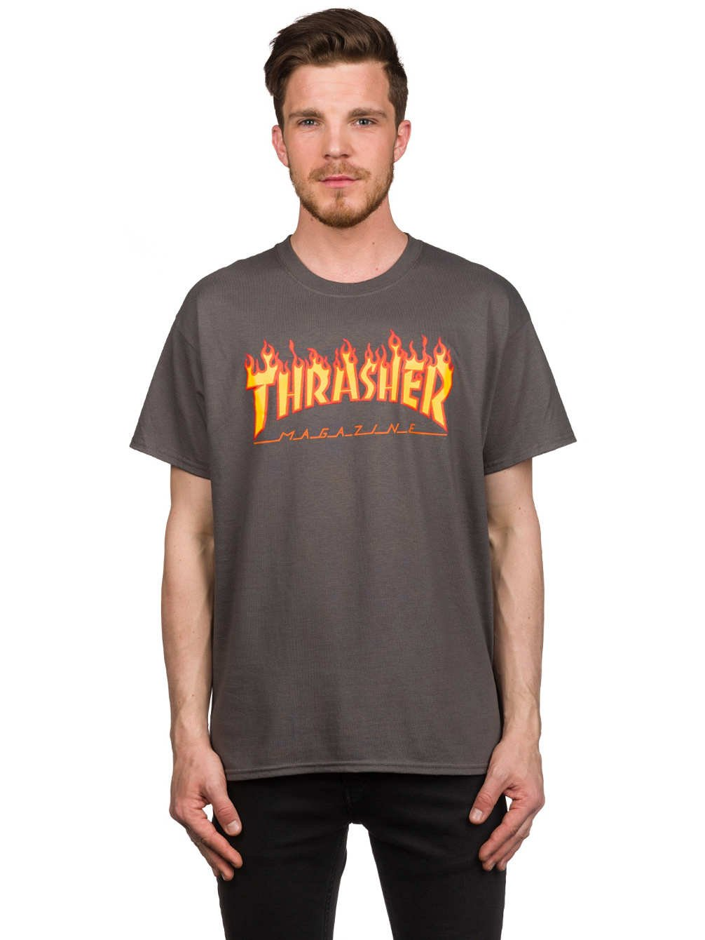 Thrasher Flame T-Shirt (Small, Charcoal)