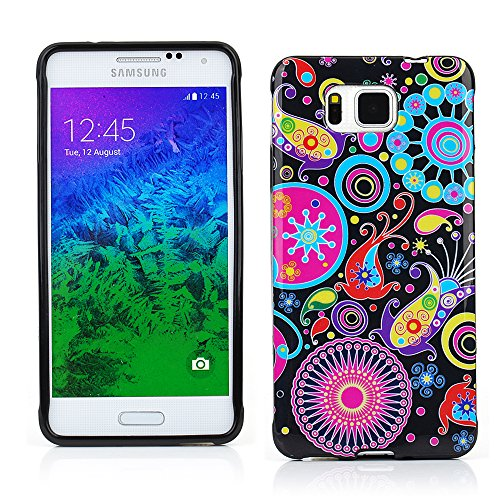 KMO Samsung Galaxy Alpha Case Cover [Shock Absorbing] [Thin Fit] Soft TPU Gel Skin Protection - Multicoloured/Black Retro Flowers