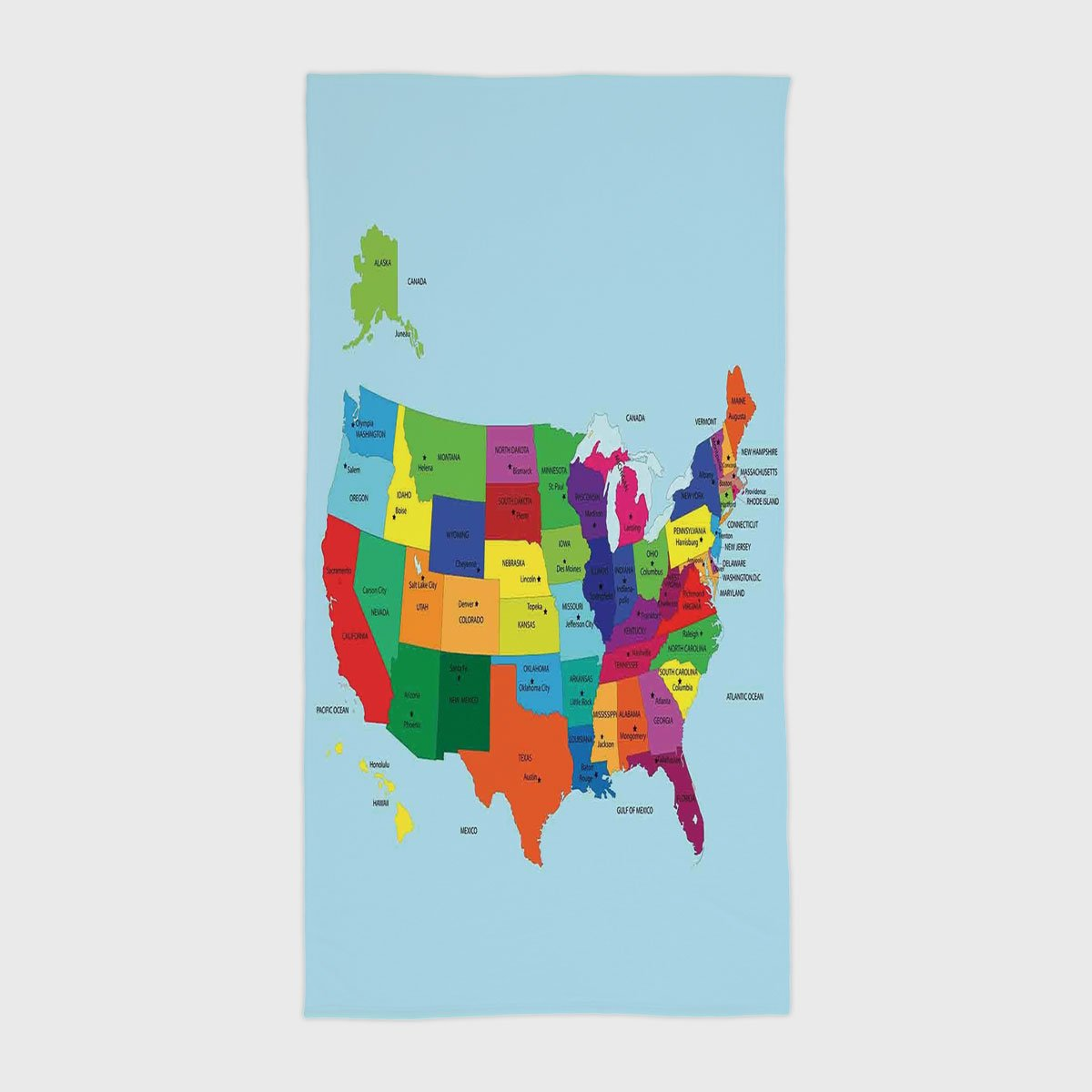 Cotton Microfiber Hotel SPA Beach Pool Bath Hand Towel,Kids,Educational Map of America USA with States and Capitals City California Texas New York Printed Art Decorative,for Kids, Teens, and Adults