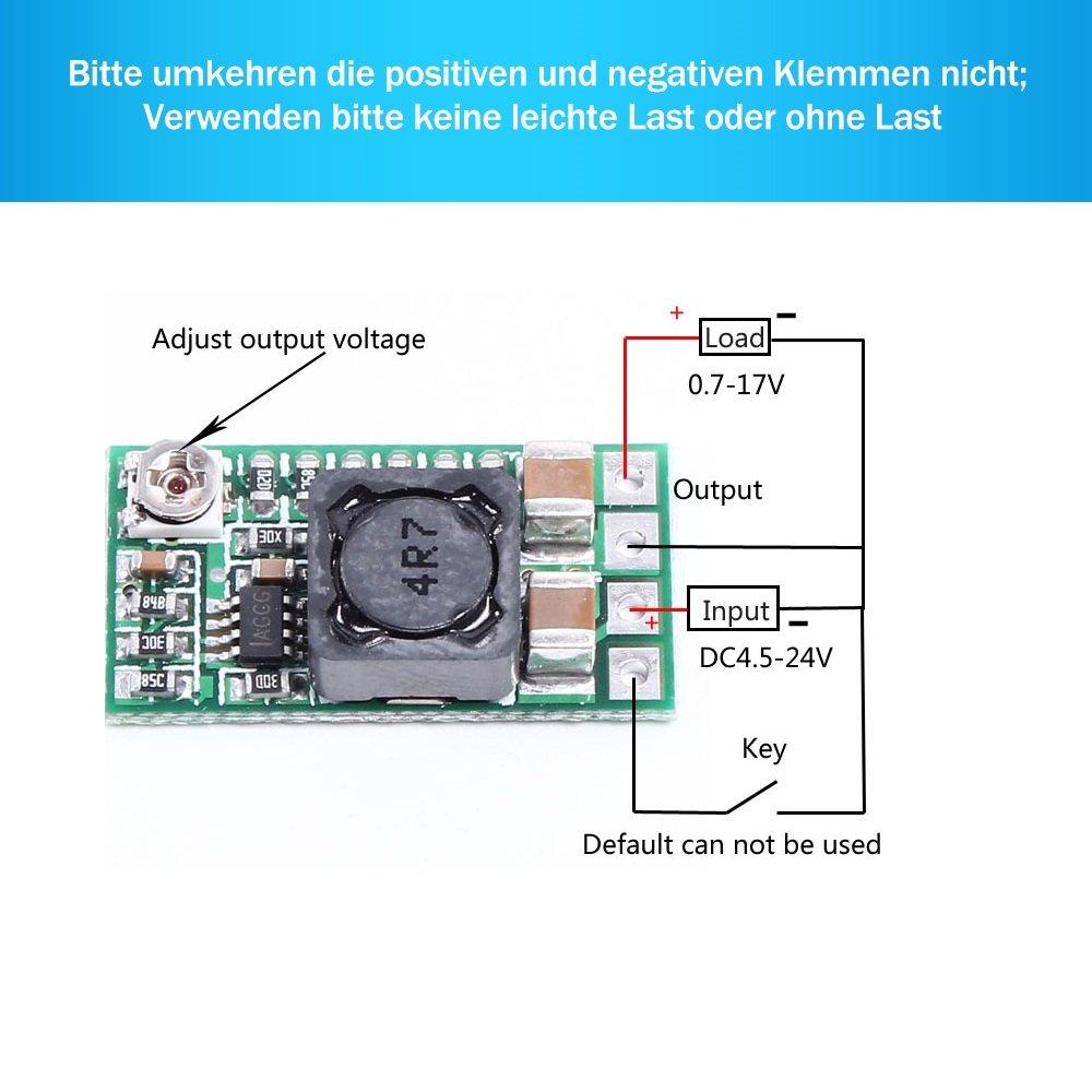 PEMENOL 5pcs DC DC Step Down modulo trasformatore di tensione 12//24/V fino a 5/V 3/a alimentazione Buck Converter 97.5/% Rendimento regolabile
