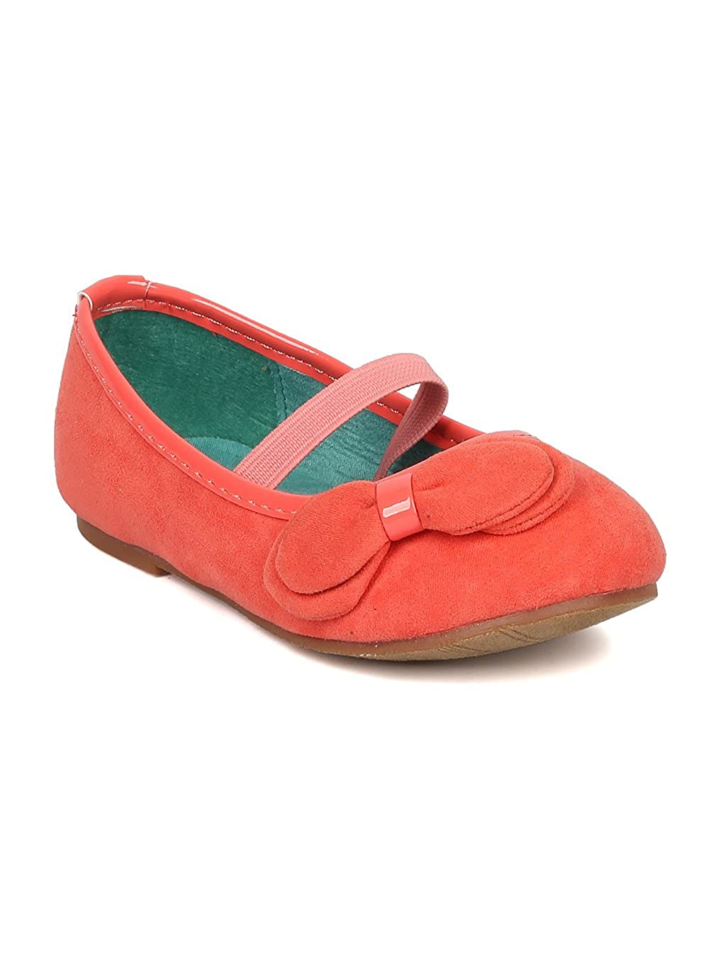 Toddler JELLY BEANS Paroya Suede Bow Embellishment Mary Jane Ballerina Flat Coral Faux Suede AE01