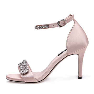 1bacc3dba onlymaker Women s Ankle Strap Strappy Sandals Gemstone Embellished High  Heel Stiletto Satin Party Wedding Shoes Nude