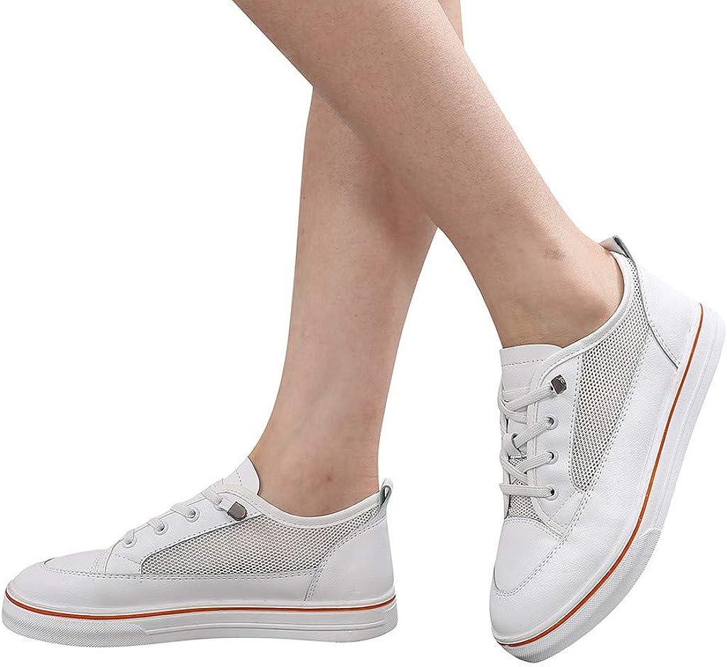 Susenstone Chaussure Blanche Femme Plates,Chaussures Femme éTé Confort Respirantes LéGer Mode Tendance Pas Cher Lacets Loafers Blanc