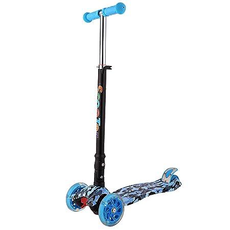 WeSkate Kinder Scooter Kinderroller höhenverstellbarer und Abnehmbarer Lenker Tret-Roller mit 4-PU blinkenden LED Rollen Graf