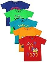 Maniac Printed Boy's Round Neck T-Shirt (Pack of 5)